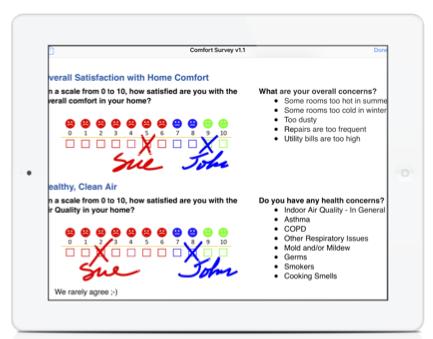 Comfort Survey screen capture in iPad
